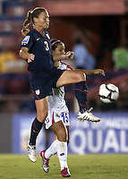 Christie Rampone battles for the ball. USWNT vs Costa Rica in the 2010 CONCACAF Women's World Cup Qualifying tournament held at Estadio Quintana Roo in Cancun, Mexico on November 8th, 2010.