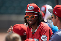 Wes Rogers (24) of the Carolina Mudcats hangs out in the dugout during the game against the Winston-Salem Dash at BB&T Ballpark on August 4, 2019 in Winston-Salem, North Carolina. The Dash defeated the Mudcats 7-5. (Brian Westerholt/Four Seam Images)