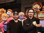 """AJ McLean and Kevin Richardson from the Backstreet Boys backstage with the cast and crew of  """"Avenue Q""""  at the New World Stages on January 27, 2019 in New York City."""