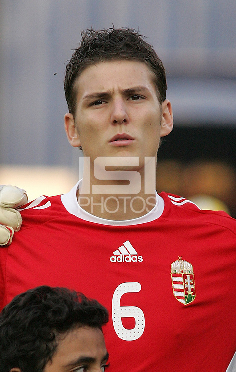 Hungary's Zsolt Korcsmar (6) stands on the field before the game against Ghana at the FIFA Under 20 World Cup Semi-final match at the Cairo International Stadium in Cairo, Egypt, on October 13, 2009. Costa Rica won the match 1-2 in overtime play. Ghana won the match 3-2.