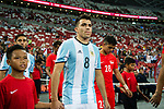 Marcos Acuna of Argentina getting into the field during the International Test match between Argentina and Singapore at National Stadium on June 13, 2017 in Singapore. Photo by Marcio Rodrigo Machado / Power Sport Images