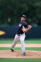 GCL Yankees West starting pitcher Nelvin Correa (26) delivers a pitch during the second game of a doubleheader against the GCL Braves on July 30, 2018 at Champion Stadium in Kissimmee, Florida.  GCL Braves defeated GCL Yankees West 5-4.  (Mike Janes/Four Seam Images)