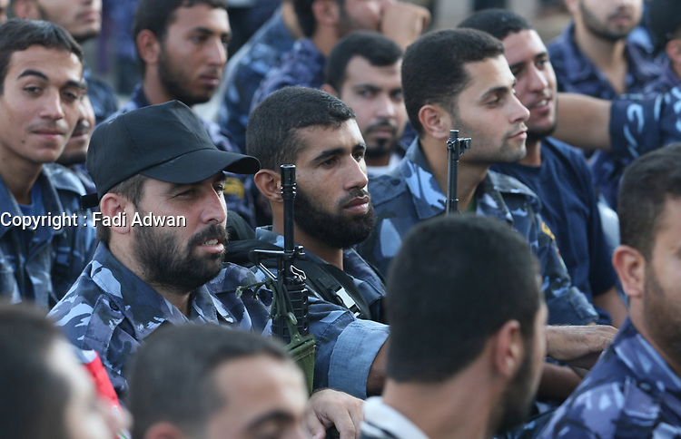 """Palestinian security forces of the Hamas attend a rally in Gaza City Sunday, Aug. 5, 2007. 950 of over 5,000 Palestinians stranded for weeks in Egypt after the Hamas takeover of Gaza returned home on Sunday.""""photo by Fady Adwan"""""""