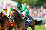 ARLINGTON HEIGHTS,IL-AUGUST 11: Sistercharlie,ridden by John Velazquez,wins the Beverly D Stakes at Arlington International Race Track on August 11,2018 in Arlington Heights,Illinois (Photo by Kaz Ishida/Eclipse Sportswire/Getty Images)