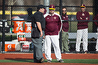 Iona Gaels head coach Pat Carey discusses a call with the home plate umpire during the game against the Rutgers Scarlet Knights at City Park on March 8, 2017 in New Rochelle, New York.  The Scarlet Knights defeated the Gaels 12-3.  (Brian Westerholt/Four Seam Images)
