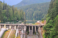 Close-view of Lower Elwha River Dam with Lake Aldwell behind, in the Olympic National Forest, Olympic Peninsula, Washington State.