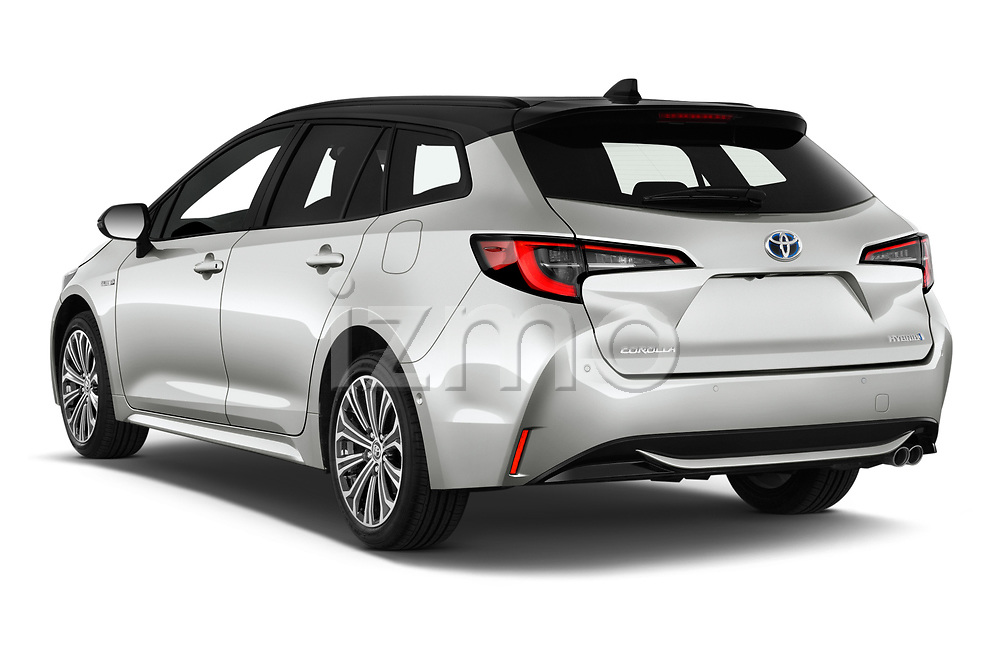 Car pictures of rear three quarter view of 2019 Toyota Corolla-TS-hybrid Style 5 Door Wagon Angular Rear