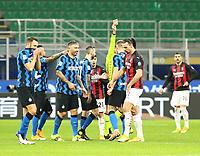 Milano  26-01-2021<br /> Stadio Giuseppe Meazza<br /> Coppa Italia Tim 2020/21<br /> Inter - Milan nella foto:    Rosso per Zlatan Ibraimovic                                                      <br /> Antonio Saia Kines Milano