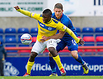 Inverness Caledonian Thistle v St Johnstone...27.10.12      SPL.Josh Meekings gets a hold of Nigel Hasselbaink.Picture by Graeme Hart..Copyright Perthshire Picture Agency.Tel: 01738 623350  Mobile: 07990 594431