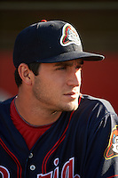 Peoria Chiefs pitcher Daniel Poncedeleon (32) in the dugout before a game against the Lansing Lugnuts on June 6, 2015 at Cooley Law School Stadium in Lansing, Michigan.  Lansing defeated Peoria 6-2.  (Mike Janes/Four Seam Images)