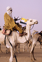 In-Gall, near Agadez, Niger - Tuareg on Camel at Annual Cure Salé, Annual Gathering of Tuareg Nomads.  As is their custom, most men cover their mouths with the tagulmust, the Tuareg veil.  The flag of Niger is in the background.