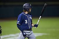 Jake DeLeo (3) of the Georgia Tech Yellow Jackets at bat against the Virginia Tech Hokies at English Field on April 16, 2021 in Blacksburg, Virginia. (Brian Westerholt/Four Seam Images)