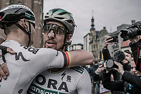 World Champion Peter Sagan (SVK/Bora-Hansgrohe) congratulated by a teammate after he won the race for a 3rd time in his career<br /> <br /> 81st Gent-Wevelgem in Flanders Fields (1.UWT)<br /> Deinze > Wevelgem (251km)