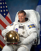 """Houston, TX - (FILE) -- Photo dated January 31, 2003 of Astronaut Christer Fuglesang, mission specialist, STS-127, representing the European Space Agency (ESA). Commander Rick Sturckow will lead the STS-128 mission to the International Space Station aboard space shuttle Discovery with Kevin Ford serving as pilot. It is scheduled for launch on August 25, 2009.  Also serving aboard Discovery are mission specialists Patrick Forrester, José Hernández, John """"Danny"""" Olivas, Christer Fuglesang and Nicole Stott.  Stott will remain on the station as an Expedition 20 flight engineer replacing Timothy Kopra. Kopra will return home aboard Discovery as a mission specialist.  Discovery is carrying the Leonardo Multi-Purpose Logistics Module containing life support racks and science racks. The Lightweight Multi-Purpose Experiment Support Structure Carrier will also be launched in Discovery's payload bay.  This is Discovery's 37th mission to space and the 30th mission of a space shuttle dedicated to the assembly and maintenance of the International Space Station. .Credit: NASA via CNP"""