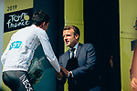 President Emmanuel Macron greets White Jersey holder Egan Bernal (COL) Team Ineos on the podium at the end of Stage 14 of the 2019 Tour de France running 117.5km from Tarbes to Tourmalet Bareges, France. 20th July 2019.<br /> Picture: ASO/Thomas Maheux | Cyclefile<br /> All photos usage must carry mandatory copyright credit (© Cyclefile | ASO/Thomas Maheux)