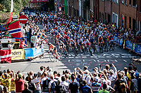 peloton up the Wijnpersstraat<br /> <br /> Women Elite - Road Race (WC)<br /> from Antwerp to Leuven (158km)<br /> <br /> UCI Road World Championships - Flanders Belgium 2021<br /> <br /> ©kramon (pic by Sigfrid Eggers)