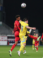 Koni De Winter (14) of Belgium and Vyacheslav Shvyrev (19) of Kazakhstan  battle to head the ball during a soccer game between the national teams Under21 Youth teams of Belgium and Kazakhstan on the third matday in group I for the qualification for the Under 21 EURO 2023 , on friday 8 th of october 2021  in Leuven , Belgium . PHOTO SPORTPIX | SEVIL OKTEM