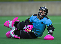 Amy Rossiter-Stead celebrates a clean sheet during the shootout at the end of the women's premier one Wellington Hockey final between Hutt United and Dalefield at National Hockey Stadium in Wellington, New Zealand on Saturday, 26 September 2020. Photo: Dave Lintott / lintottphoto.co.nz