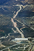 aerial photograph of the Devils Canyon Afterbay hydroelectric power plant, San Bernadino and the water feeder to Los Angeles County, California