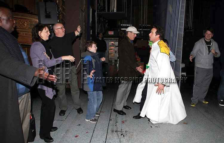 Timothy J. Alex with Michael Mandell, Beth Leavel, Mitchell Sink, Mark Jacoby, Jason Eric Testa & Rory Donovan attending the Broadway Opening Night Gypsy Robe Ceremony celebrating Timothy J. Alex in 'Elf The Musical' at the Al Hirschfeld Theatre in New York City on 11/18/2012