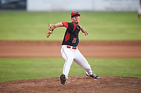 Batavia Muckdogs relief pitcher Shane Sawczak (21) delivers a pitch during a game against the Auburn Doubledays on July 6, 2017 at Dwyer Stadium in Batavia, New York.  Auburn defeated Batavia 4-3.  (Mike Janes/Four Seam Images)