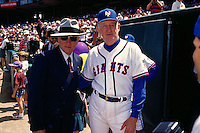 SAN FRANCISCO, CA - Manager Roger Craig of the San Francisco Giants and general manager Al Rosen pose for a picture before a turn back the clock game against the Philadelphia Phillies at Candlestick Park in San Francisco, California in 1992. (Photo by Brad Mangin)