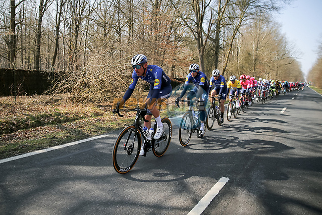 The peloton led by Deceuninck-Quick Step during Stage 2 of Paris-Nice 2021, running 188km from Oinville-sur-Montcient to Amilly, France. 8th March 2021.<br /> Picture: ASO/Fabien Boukla | Cyclefile<br /> <br /> All photos usage must carry mandatory copyright credit (© Cyclefile | ASO/Fabien Boukla)
