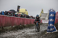 later winner Katie Compton (USA/KFC Racing p/b Trek/Panache) riding the mud.<br /> <br /> Women's Race<br /> GP Sven Nys 2018
