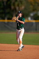 Second baseman Cooper Allen (1) throws to first base during the Perfect Game National Underclass East Showcase on January 23, 2021 at Baseball City in St. Petersburg, Florida.  (Mike Janes/Four Seam Images)