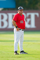 Kannapolis Intimidators manager Tommy Thompson (39) coaches third base during the South Atlantic League game against the Hickory Crawdads at CMC-Northeast Stadium on July 28, 2013 in Kannapolis, North Carolina.  The Crawdads defeated the Intimidators 6-1.  (Brian Westerholt/Four Seam Images)
