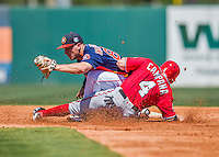15 March 2016: Houston Astros infielder Alex Bregman, ranked the 3rd Top Prospect in the Astros organization for 2016 by Baseball America, gets Tony Campana out at second in the 3rd inning of a Spring Training pre-season game against the Washington Nationals at Osceola County Stadium in Kissimmee, Florida. The Astros fell to the Nationals 6-4 in Grapefruit League play. Mandatory Credit: Ed Wolfstein Photo *** RAW (NEF) Image File Available ***