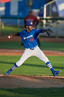 Ogden Raptors starting pitcher Adalberto Pena (40) delivers a pitch to the plate against the Idaho Falls Chukars at Lindquist Field on August 28, 2017 in Ogden, Utah. Ogden defeated Idaho Falls 7-1. (Stephen Smith/Four Seam Images)