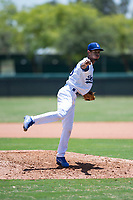 AZL Dodgers relief pitcher Edward Cuello (60) delivers a pitch during an Arizona League game against the AZL Padres 2 at Camelback Ranch on July 4, 2018 in Glendale, Arizona. The AZL Dodgers defeated the AZL Padres 2 9-8. (Zachary Lucy/Four Seam Images)