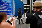 New  York, New York<br /> September 10, 2011<br /> <br /> Views of Ground Zero on the eve of the 10th anniversary of 9-11-2001. Heavily armed police at the entrance to the subway at West Broadway and Vesey Street.