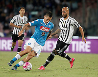 Calcio, Serie A: Napoli vs Juventus. Napoli, stadio San Paolo, 26 settembre 2015. <br /> Napoli's Marek Hamsik, left, is challenged by Juventus's Simone Zaza during the Italian Serie A football match between Napoli and Juventus at Naple's San Paolo stadium, 26 September 2015.<br /> UPDATE IMAGES PRESS/Isabella Bonotto