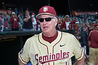 Florida State Seminoles head coach Mike Martin Sr. (11) is interviewed following the game against the North Carolina Tar Heels in the 2017 ACC Baseball Championship Game at Louisville Slugger Field on May 28, 2017 in Louisville, Kentucky. The Seminoles defeated the Tar Heels 7-3. (Brian Westerholt/Four Seam Images)