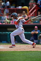 Reading Fightin Phils shortstop Malquin Canelo (6) follows through on a swing during a game against the Erie SeaWolves on May 18, 2017 at UPMC Park in Erie, Pennsylvania.  Reading defeated Erie 8-3.  (Mike Janes/Four Seam Images)