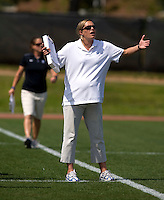 Duke head coach Kerstin Kimel yells to her team during the first round of the ACC Women's Lacrosse Championship in College Park, MD.  Duke defeated Boston College, 17-6.