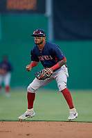 Lowell Spinners second baseman Kervin Suarez (2) during a NY-Penn League game against the Batavia Muckdogs on July 10, 2019 at Dwyer Stadium in Batavia, New York.  Batavia defeated Lowell 8-6.  (Mike Janes/Four Seam Images)