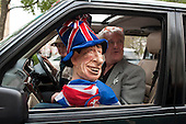 A Prince Charles puppet outside  Westminster Abbey on the eve of the Royal Wedding.