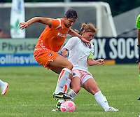Sky Blue FC  midfielder Yael Averbuch (10) and St Louis Athletica midfielder Lori Chalupny (17) battle for the ball during a WPS match at Anheuser-Busch Soccer Park, in St. Louis, MO, June 7, 2009. Athletica won the match 1-0.