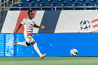 FOXBOROUGH, MA - AUGUST 21: Mutaya Mwape #10 of Richmond Kickers dribbles down the wing during a game between Richmond Kickers and New England Revolution II at Gillette Stadium on August 21, 2020 in Foxborough, Massachusetts.