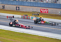 Sep 27, 2020; Gainesville, Florida, USA; NHRA top fuel driver Billy Torrence (near) alongside Terry McMillen during the Gatornationals at Gainesville Raceway. Mandatory Credit: Mark J. Rebilas-USA TODAY Sports