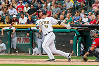 Stephen McGee (38) of the Salt Lake Bees at bat against the Tacoma Rainiers in Pacific Coast League action at Smith's Ballpark on September 1, 2015 in Salt Lake City, Utah. The Bees defeated the Rainiers 10-1.  (Stephen Smith/Four Seam Images)