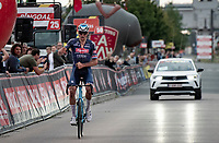 Mathieu van der Poel (NED/Alpecin-Fenix) wins the race he entered 'to test his back' and check if he could be ready for the World Championships 2 weeks later and Roubaix the week after that<br /> <br /> Antwerp Port Epic / Sels Trophy 2021 (BEL)<br /> One day race from Antwerp to Antwerp (183km)<br /> <br /> The APC stands qualified as a 'road race', but with 36km of gravel and 28km of cobbled sections in and around the Port of Antwerp (BEL) this race occupies a unique spot in the Belgian race scene.<br /> <br /> ©kramon