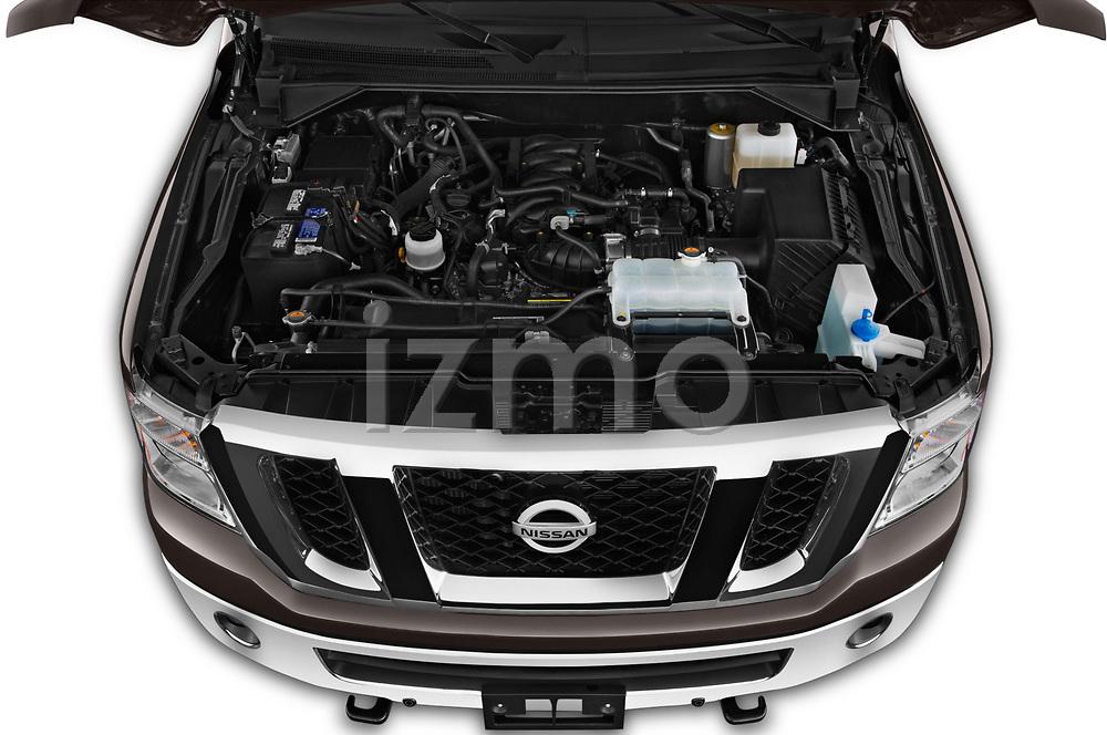 Car stock 2019 Nissan NV Passenger SL 4 Door Passenger Van engine high angle detail view