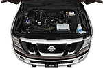 Car stock 2019 Nissan NV Passenger SL 4 Door Passenger Van engine high angle detail view