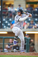 Grand Junction Rockies Owen Taylor (27) at bat during a Pioneer League game against the Billings Mustangs at Dehler Park on August 14, 2019 in Billings, Montana. Grand Junction defeated Billings 8-5. (Zachary Lucy/Four Seam Images)
