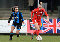 20180127 - AALTER , BELGIUM : Brugge's Katinka Dubois (left) pictured with Standard's Charlotte Cranshoff (right) during the quarter final of Belgian cup 2018 , a womensoccer game between Club Brugge Dames and Standard Femina de Liege , in Aalter , saturday 27 th January 2018 . PHOTO SPORTPIX.BE | DAVID CATRY