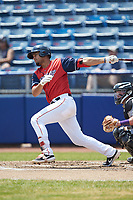 Pedro Castellanos (28) of the San Bernardos de Salem follows through on his swing against the Winston-Salem Dash at Haley Toyota Field on June 30, 2019 in Salem, Virginia. The Dash defeated the San Bernardos 3-2. (Brian Westerholt/Four Seam Images)